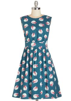 Too Much Fun Dress in Ski. Theres no such thing as overloading on fun, so why not go all out in this adorable ModCloth-exclusive dress from Emily and Fin? #blue #modcloth