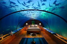 Underwater Bedroom, The Hilton Hotel and Resort, The Maldives.   A getaway indeed- I doubt I'll ever go, but it's Under the Sea!