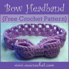 Bow Headband {Free Crochet Pattern} www.ouicrochet.com