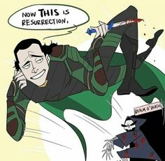 He has been yeeted back to life Loki Art, Thor X Loki, Marvel Funny, Marvel Memes, Funny Comics, Marvel Avengers, Marvel Comics, Hetalia, Loki God Of Mischief