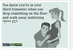You know you're in your third trimester when you drop something on the floor and walk away muttering fuck it - Pregnancy Humor - Mantra, Pregnancy Memes, Pregnancy Problems, Fit Pregnancy, Baby Center, Baby Time, Just For Laughs, That Way, I Laughed