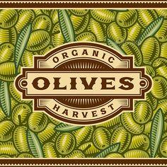 Retro Olive Harvest Label
