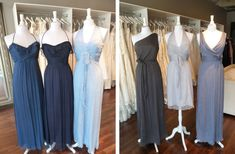 Amsale Bridesmaids Color Combos - French Blue, Navy, Sky (left) & Charcoal, Dove, & Slate (right)