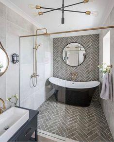 Modern Farmhouse, Rustic Modern, Classic, light and airy master bathroom design ideas. Bathroom makeover ideas and bathroom renovation tips. Bathroom Renos, Bathroom Renovations, Wet Room Bathroom, White Bathroom, Remodel Bathroom, Wet Room With Bath, Bathroom Accent Wall, Modern Bathroom Tile, Modern Shower