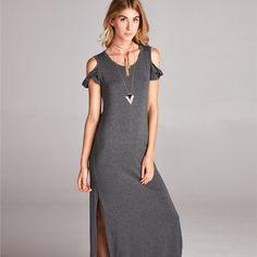 Cold Shoulder Solid Maxi Dress