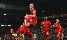 Roberto Firmino is congratulated by Adam Lallana and other team-mates after scoring Liverpool's second goal in their 4-1 win against Stoke City on Tuesday 27 December 2016