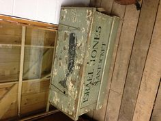 Vintage sea chest with whale painted on lid. LOVE.