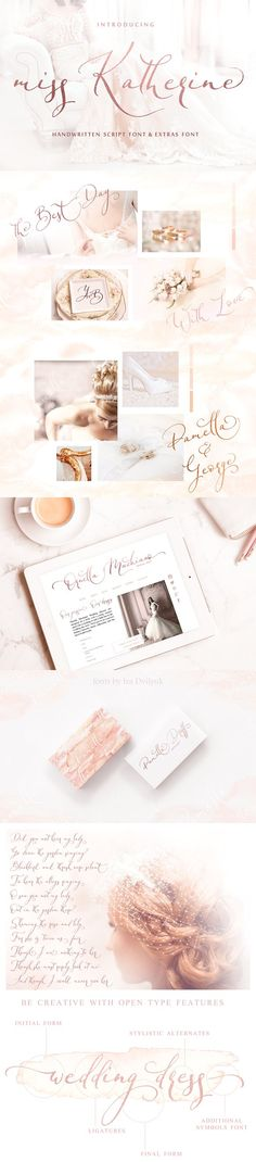 FREE UNTIL MAY 27! :: Miss Katherine font + Extras & Logo by IraDvilyuk on @creativemarket