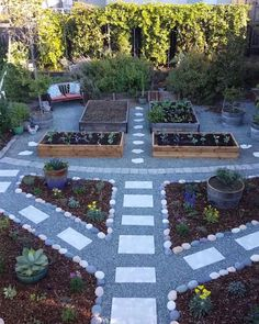 Stepping stones with gray rocks in between raised garden beds