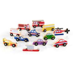 "Our 12-piece wooden Vehicle Collection set is colorful and recognizable, including vehicles such as the police car, school bus, ambulance, fire truck and many more!  The trucks and vehicles alike will surely liven up a block play setting for one or multiple children. Vehicles measure 1.5"" to 2.625""H x 3.5 to 4.5""W"
