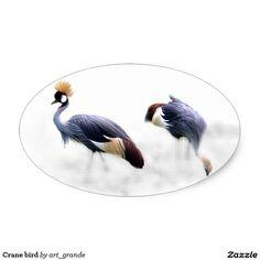 Crane bird oval sticker