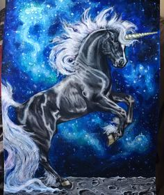 A black unicorn  painted by me! Msg me if you want a cheap print!