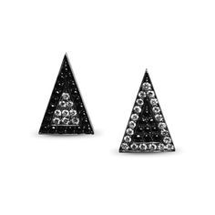 Bespoke black and white diamond arrowhead earstuds, with 9ct yellow gold mirror effect reverse and blackened silver setting.