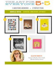 5+5 | Danielle Krysa aka @jealouscurator!  Curator. Unblocker. Optimist. 5 Perfect Art Picks & 5 Questions Answered!
