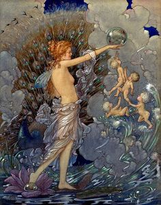 """Life ~ artist Harold Gaze (1885-1963); watercolor.   In his day, Mr. Gaze was a celebrated author and illustrator of children's books. He is perhaps most well-known in his native New Zealand and Australia, where he lived for many years. Fairies, mermaids, nymphs, and elfish creatures dominate his work, along with his signature bubbles, for which he became known as """"The Bubble Man.""""  #art #illustration"""