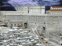 """""""God's Hill"""" actually better describes what is above the wall – the Temple Mount, the place where once stood David's Temple. The artwork shown here is a depiction of what the area looked like when the rebuilt Temple was expanded by King Herod around 19 b."""