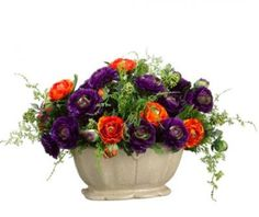 Silk Floral Oval Centerpiece with Purple and Orange ARWF1156