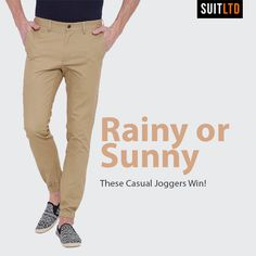 Rainy or sunny – these easy khaki joggers are here to stay! Shop here - https://www.suitlimited.com/products/khaki-twill-chino-joggers #ShopOnline #Joggers #casualwear #casual #weekends #OnlineShopping #MensFashion