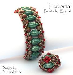 """Beading Pattern (15 pages, with photos and text) in pdf-format for a bracelet and beaded bead Balrade. """"Balrade"""" is a bracelet of about ca. 2,5 cm"""