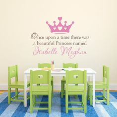 "Princess Wall Decal - Personalized Name Decal - Once upon a time - Extra Large. The Personalized Princess Wall Decal is available in the color of your choice. See the color chart for your options. Colors pictured are Soft Pink and Brown. The photographs are for a reference be sure to use the measurements when ordering. Size - 48"" wide by 34.7"" high (the height will change a bit depending on the name chosen and placement of the decals) ***Please type the names you'd like in the message box..."