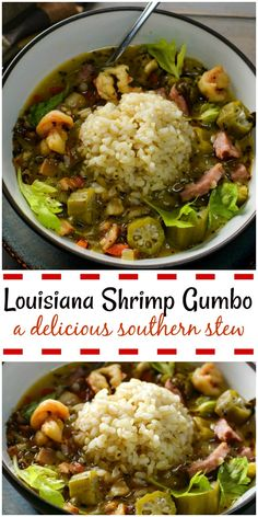Louisiana Shrimp Gumbo is a hearty southern stew that filled with delicious meat and vegetables including okra. The dish is served with rice. #shrimp_gumbo, #gumbo #stew #hearty_soup #okra #Louisiana_soup, #cajun_soup, #spicy_soup