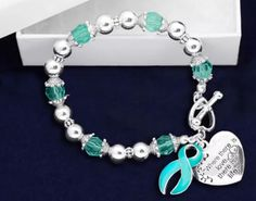 Where There is Love Teal Ribbon Bracelet Ovarian Cervical Cancer Awareness #ad