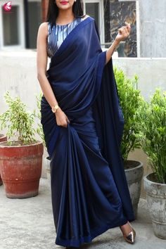 Best 11 Buy Blue Satin Dupion Silk Taping Saree – Sarees Online in India Stylish Sarees, Trendy Sarees, Fancy Sarees, Party Wear Sarees, Saree Blouse Patterns, Sari Blouse Designs, Saree Draping Styles, Saree Styles, Designer Saree Blouses