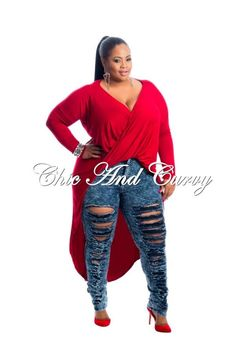 New Plus Size Long Sleeve Top with Twist Front and Tail in Red Look Plus Size, Curvy Plus Size, Plus Size Fashion For Women, Plus Size Women, Plus Fashion, Plus Size Long Sleeve Tops, Plus Sise, Chic And Curvy, Plus Size Fashionista