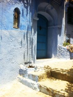 Chefchaouen Morocco - a blue city. Love this blue wood door and the walls. http://cococozy.com