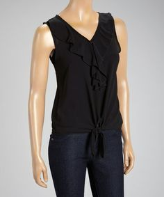 With its tie-waist construction and sweet ruffle accent, this sleeveless top offers a trend-right pick in a lightweight package that exudes elegant charm. Tie Waist Top, Spring Tops, Black Ruffle, Anna, Elegant, Women, Fashion, Classy, Moda