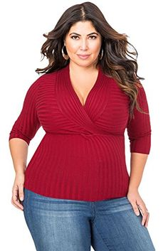 Fashion Bug Women Plus Size: Tops & Tees:British  Ladies Plus Size Wine Ribbed 3/4 Sleeve V-Neck Top Jumper Club Wear Casual Clothing Top Party Wear Size  #British #UK #FashionBug #PlusSize #Top #Tees #Blouse #Shirts