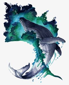 Argyre Wave by ShadeofShinon on DeviantArt Art Sketches, Art Drawings, Fish Background, Whale Drawing, Whale Illustration, Whale Tattoos, Art Aquarelle, Watercolor Fish, Whale Art