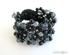 Boho style, hemp knotted Bracelet in classic black - £27.99