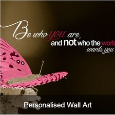 Personalised Wall Art from Presentorium - change the feature colour, background colour and text to suit your room and personality.