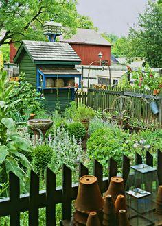 A chair, birdbath, aromatic plants, beautiful colors, neighbors who garden. Heaven.