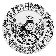 Set of 7 white and black ceramic Iittala Taika by Klaus Haapaniemi dinner plates featuring folk style woodland owl motif and brand stamp at undersides. White Dinner Plates, Dinner Plate Sets, Dinner Ware, Assiette Design, For Elise, Appetizer Plates, Kartell, Fine Porcelain, Owls