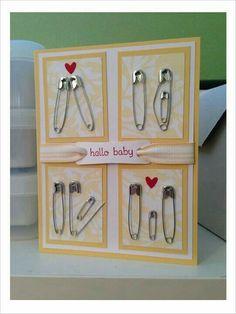 Karte zur Geburt Homemade baby shower cards (with 11 pins). Karte zur Geburt Homemade baby shower cards (with 11 pins). Homemade Cards, Homemade Gifts, Diy Gifts, Craft Gifts, Pin Card, Card Card, Welcome Card, Diy Bebe, Baby Crafts