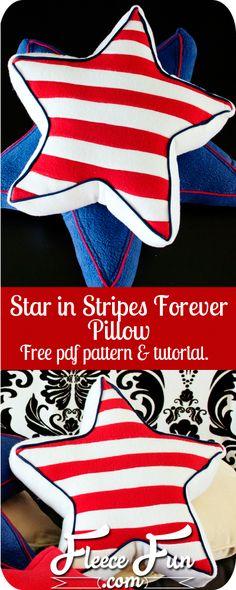 Star In Stripes Forever Pillow ♥ Fleece Fun