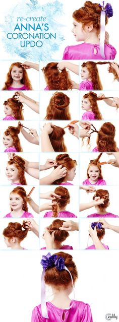 Anna Hair Tutorial. Re-Create Anna's Coronation updo. Disney Frozen Hair Tutorials – Elsa and Anna Hacks. Step by Step Tutorials for Side Braids, Coronation Buns, and Royal Updos on Frugal Coupon Living.