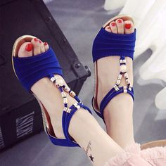 Bead Strappy T Strap Zipper Peep Toe Flat Wedge Heel Sandals is comfortable to wear. Shop on NewChic to see other cheap women sandals on sale. Boho Sandals, Cute Sandals, Sandals For Sale, Strappy Sandals, Leather Sandals, Flat Sandals, Flat Wedges, Wedge Heels, Stiletto Heels