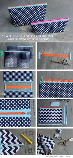 DIY.. Quilted Color Pop Zipper Pouch. Easy to sew. Great for all those make-up lovers in your life!