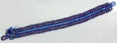 """Blues Weave"" ""Golden Tangerine"" needle woven (mostly Right Angle Weave) bracelet. Blue Weave, Right Angle Weave, Woven Bracelets, Friendship Bracelets, Blues, Weaving, Jewelry, Fabric Bracelets, Jewlery"