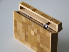 wooden card case
