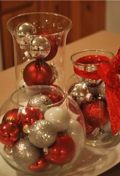 Fill assorted vases with ornaments - could also do in bathroom with Christmas coloured soaps etc