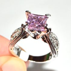Exquisite Pink CZ Engagement Ring Size 5,6,7,8,9,10. Starting at $1
