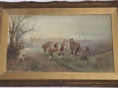 Albert Haselgrave Watercolour Of A Farmer On The Land Working His Shire Horses  | eBay