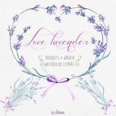 Lavender Watercolour Bouquets & Wreath Clipart. Hand painted watercolour, Floral, Wedding diy elements, Flowers, Invite, Purple, Provance