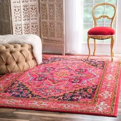 nuLOOM Traditional Flower Medallion Violet Pink Rug x - 17854733 - Overstock - Great Deals on Nuloom - Rugs - Mobile Moroccan Decor Living Room, Contemporary Area Rugs, Orange Rugs, Orange Area Rug, Online Home Decor Stores, Online Shopping, Home Decor Outlet, Colorful Rugs, Unisex