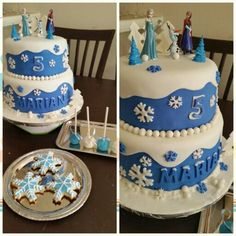 Frozen theme...cake, sugar cookies and cake pops!