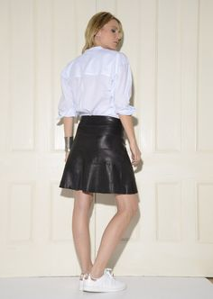 Patchwork A-line Stretch-Leather Skirt: Black | A line, Patchwork ...
